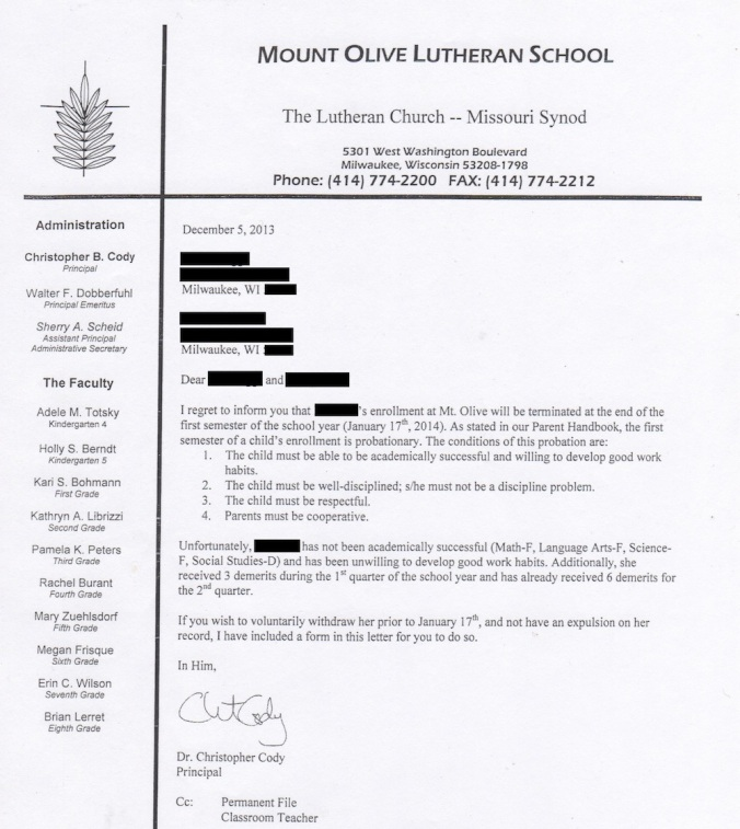 "Letter showing a student being ""counseled out"" of a voucher school."