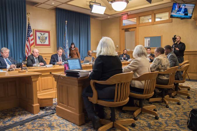 The unelected Charter School Review Board testifies before the Steering & Rules Committee.