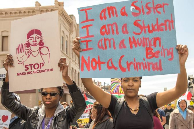 Students march in Milwaukee for May Day '15 (photo credit: Joe Brusky).