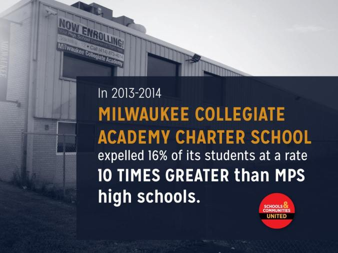 Milwaukee Collegiate Academy is a 2R city of Milwaukee charter school. It operates outside the Milwaukee School Board and is instead accountable to a appointed board.
